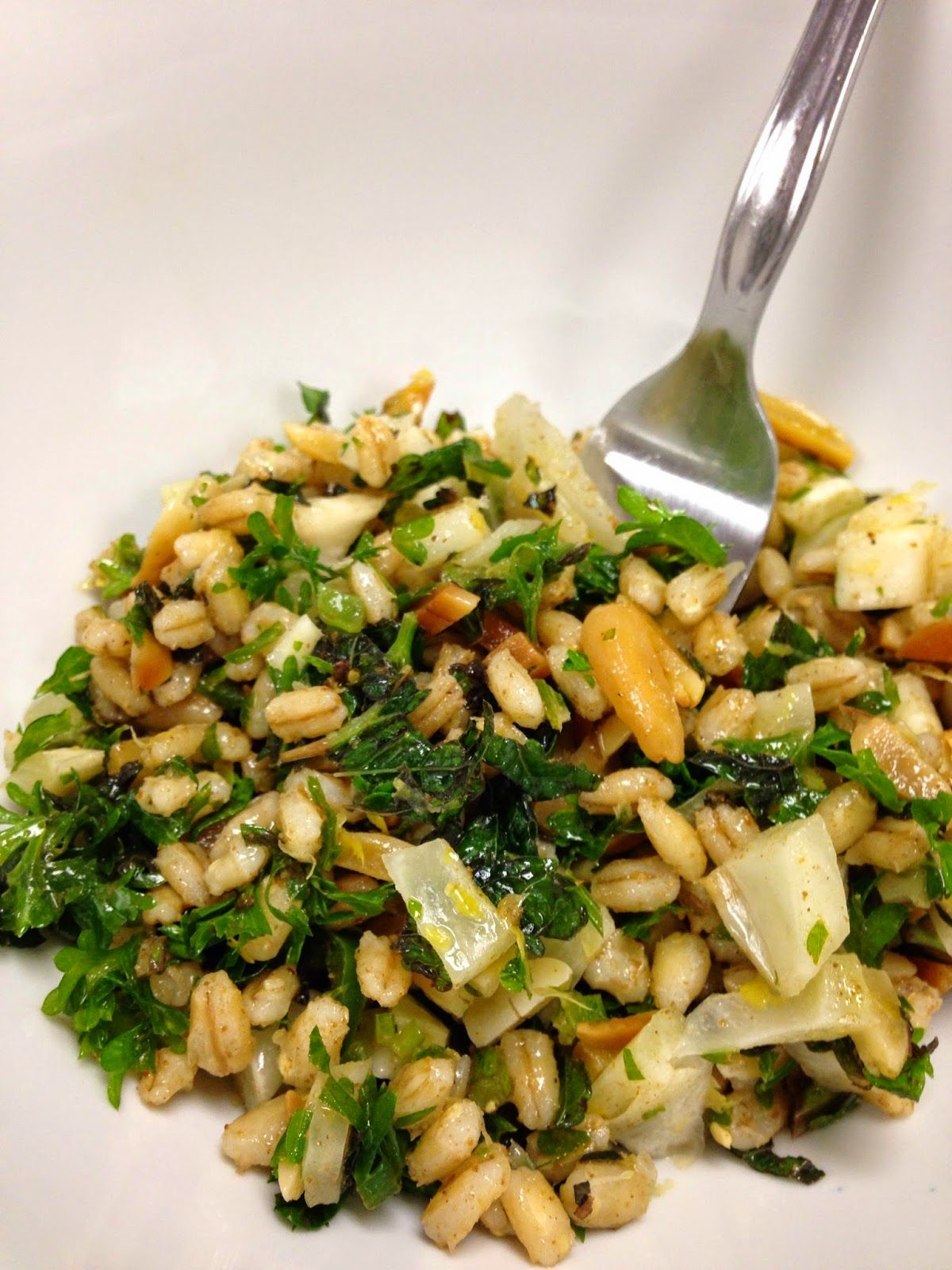 Kitchen Garden Cookbook Barley And Fennel Salad With Toasted Coriander Seeds And Almonds