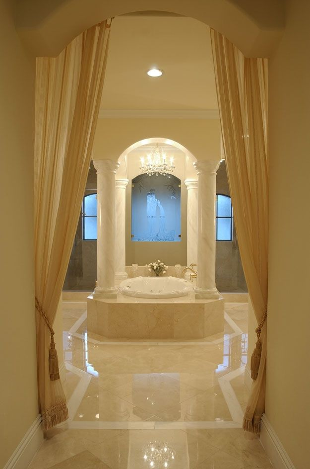 Elegant master bath. Spanish Mediterranean House Plan