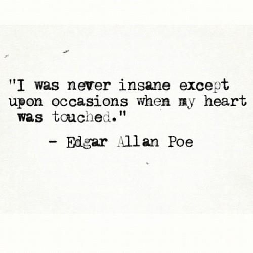 I was never insane except upon occasions when my heart was touched