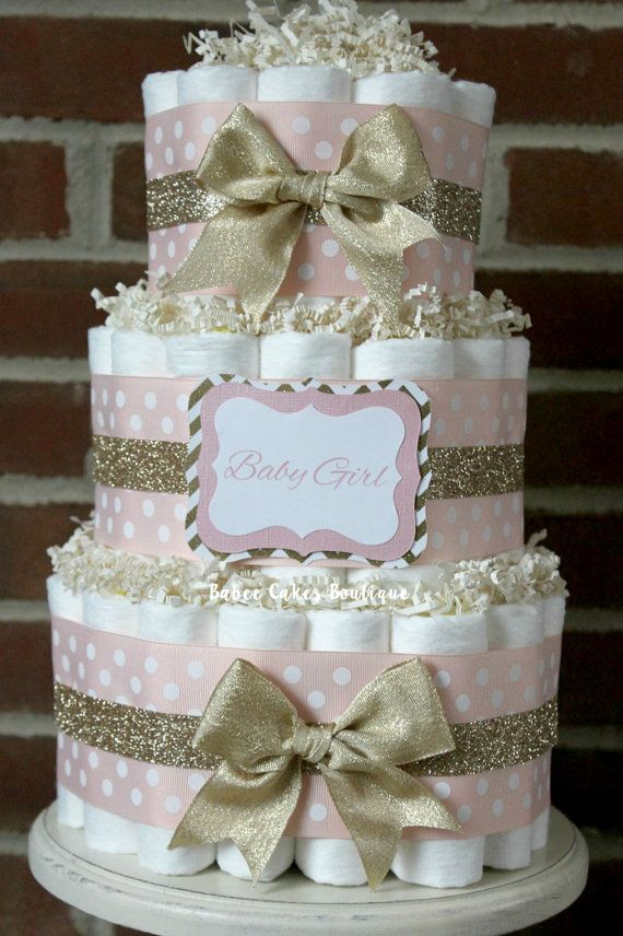 3 Tier Blush Pink and Champagne Gold Diaper by BabeeCakesBoutique