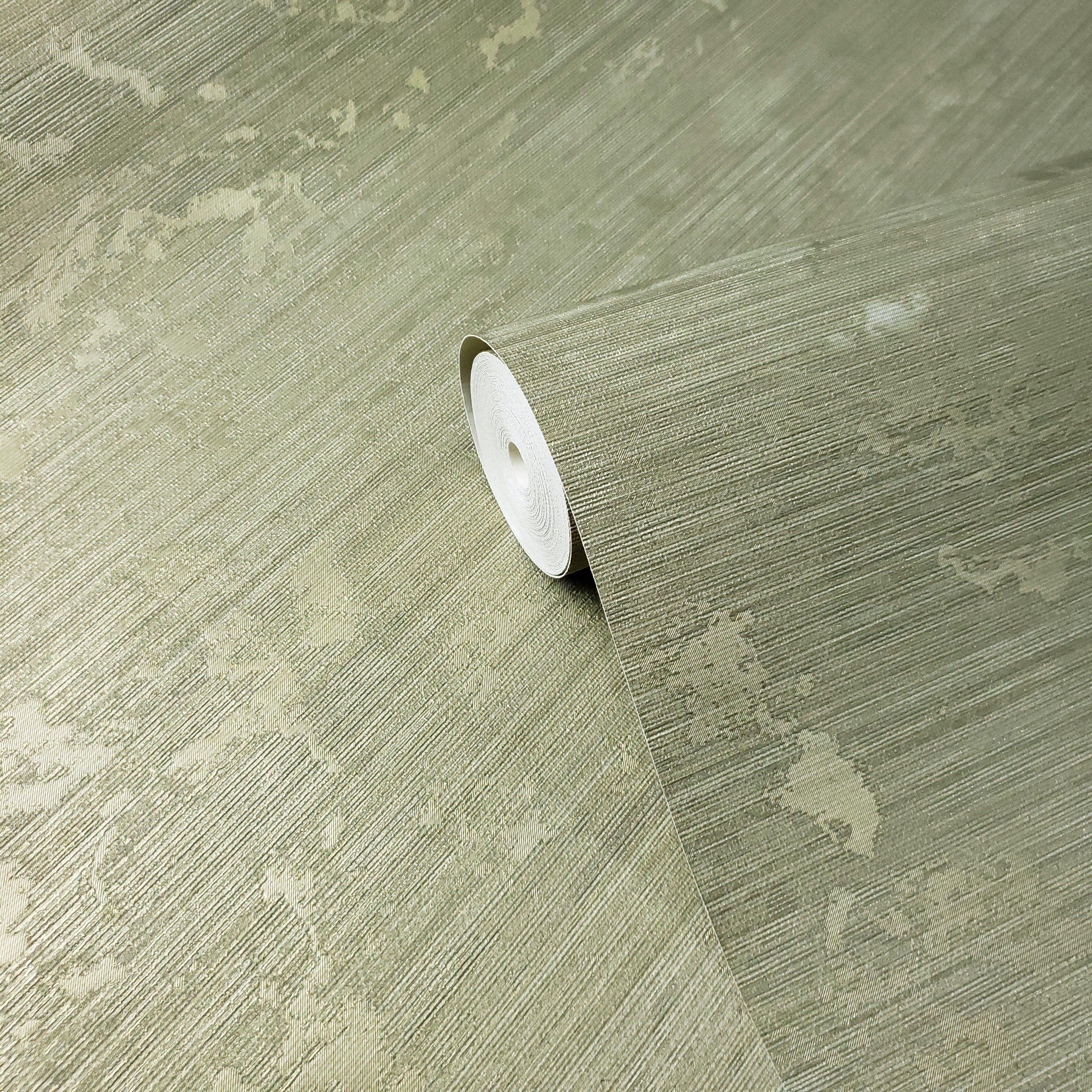 600014 Wallpaper Olive Green Metallic Textured Plain faux