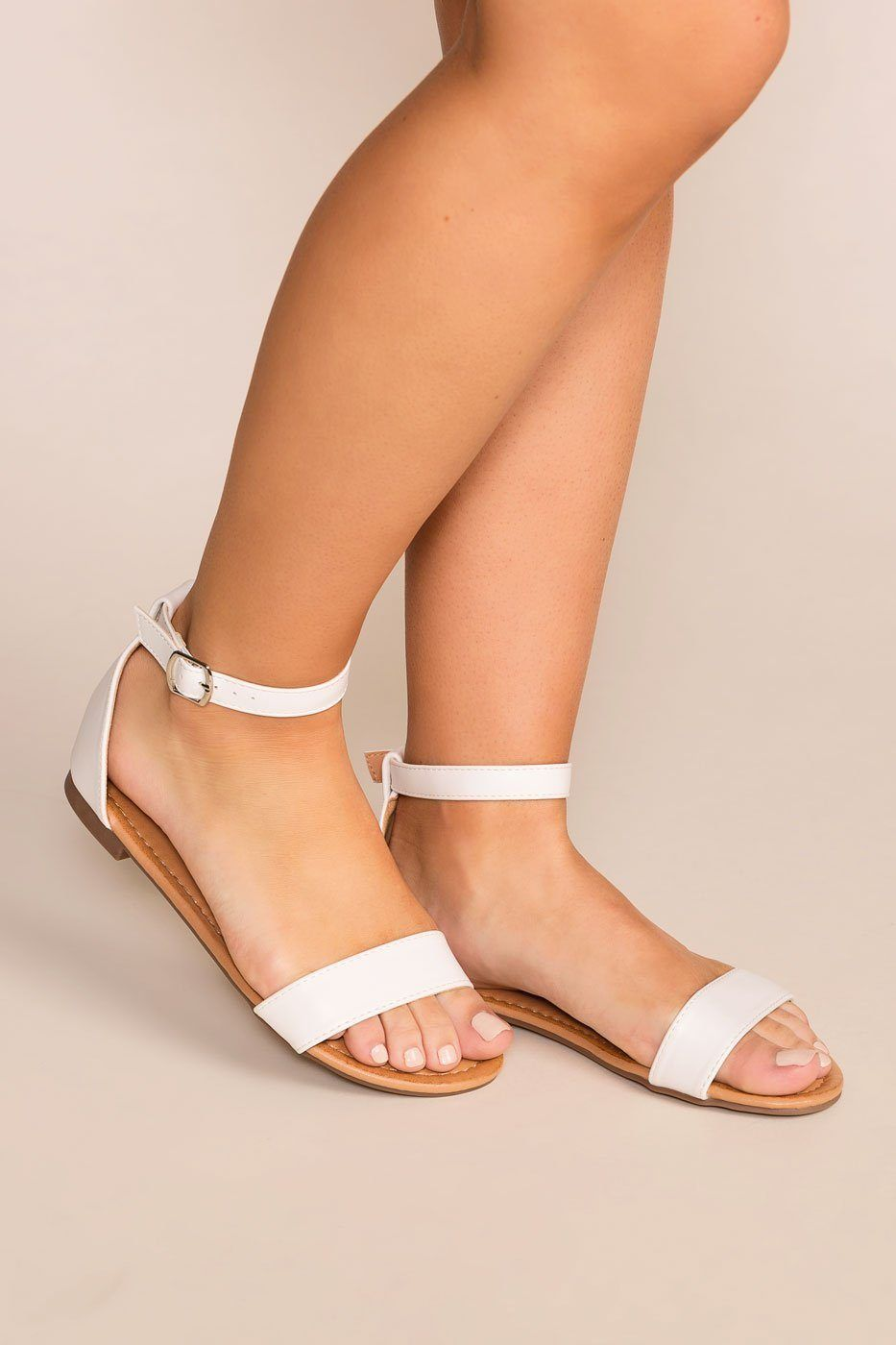 buy good 100% quality how to buy Viola White Ankle Strap Sandals in 2019 | Accessorize It ...