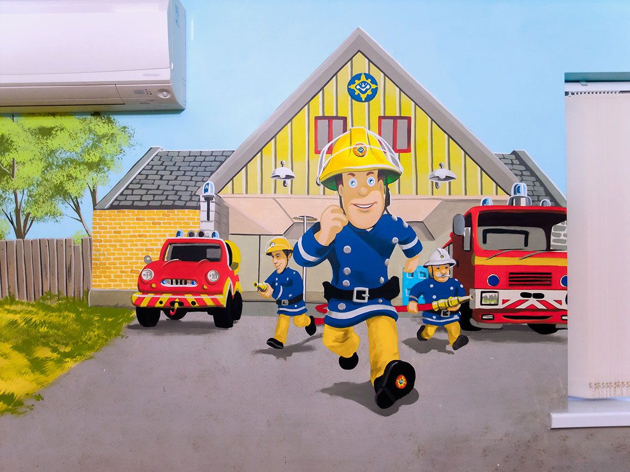 Fireman sam mural fireman sam toys pinterest fireman sam and boys room mural with cars mcqueen mater buzz lightyear fireman sam and thomas the tank amipublicfo Image collections