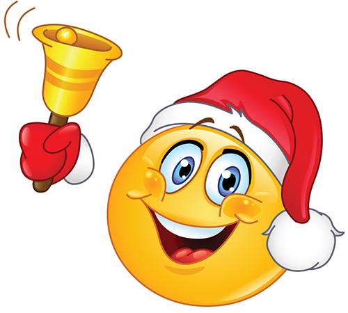 Christmas Smiley Ringing A Bell Christmas Emoticons Funny Emoticons Emoji Christmas