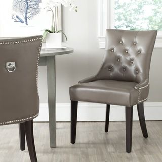Safavieh Harlow Clay Ring Chair Set Of 2 Mcr4716d Set2 Grey Leather Dining Tabledining