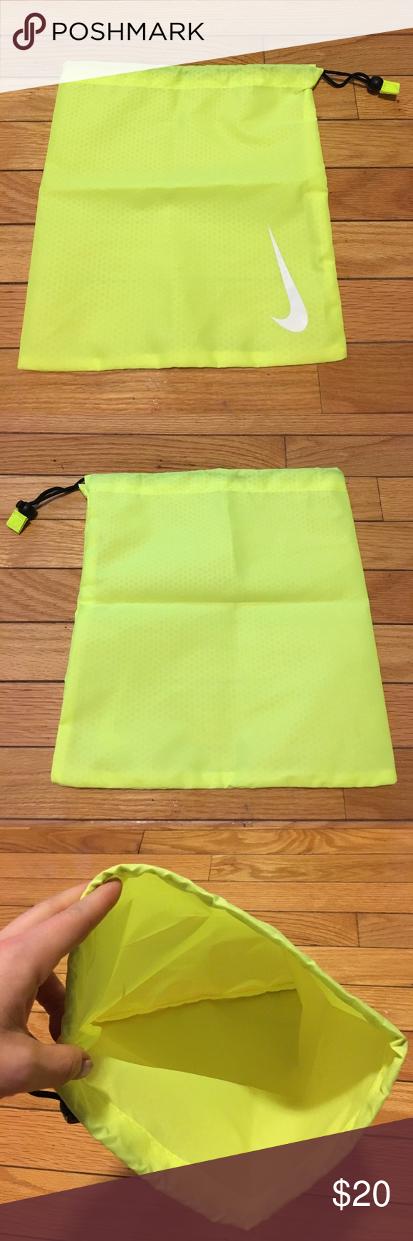 NWOT Nike Shoe/Gym Bag Protect your shoes with this bright neon yellow shoe bag from Nike. Drawstring closure at top and Nike logo on front. Bag measures approximately 12x12. Keywords: gym, sports, sneaker Nike Shoes Athletic Shoes
