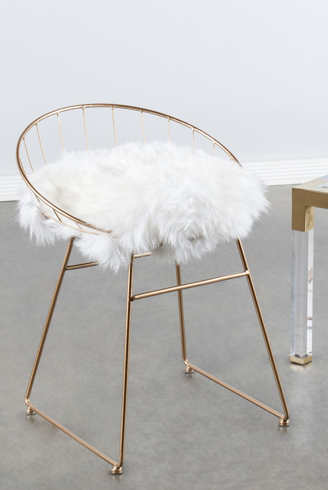 vanity chair white fur covers for hire pretoria t058fur kylie sheepskin d r e a m o bedroom room materials metal linen pad genuine sheepksin measurements 25 5 h x19 w x18 pounds 8 colors gold gray