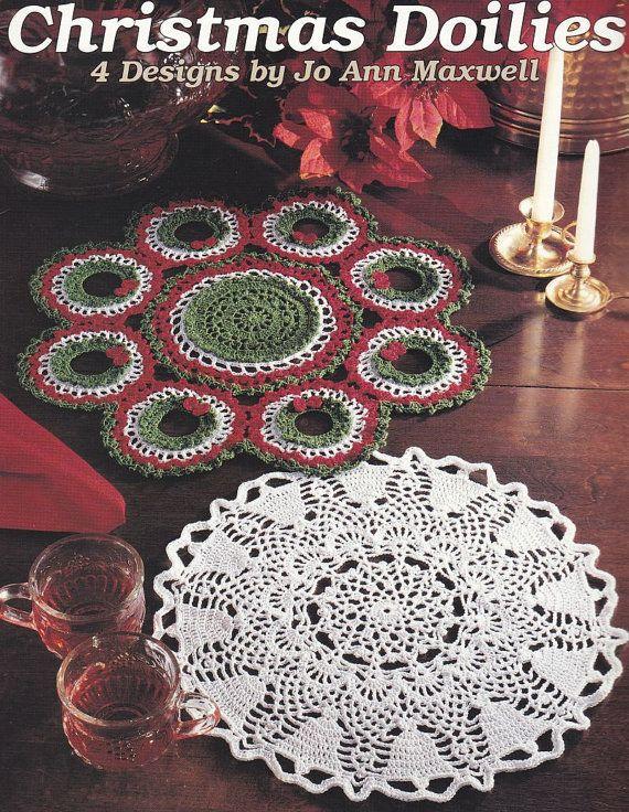 Christmas Doilies Crochet Patterns 4 Designs Wreath Angel Bells