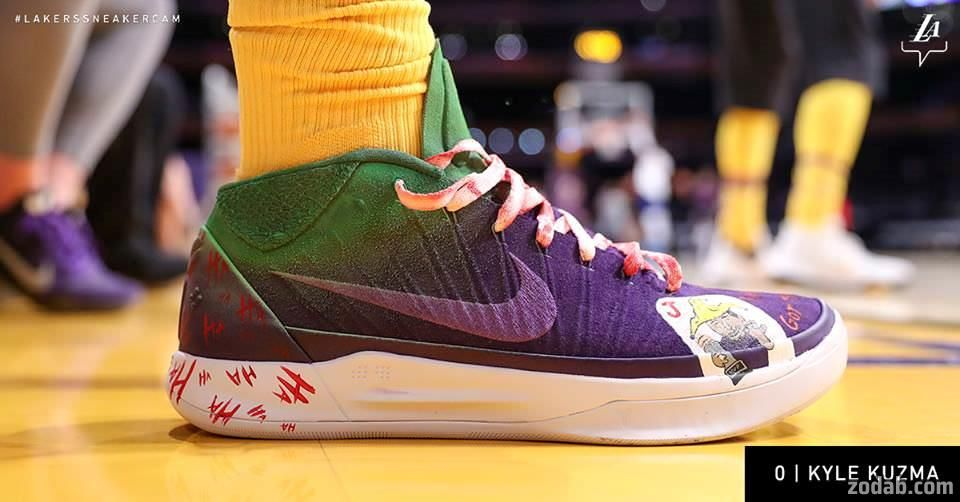 Kyle Kuzma with the custom Kobe and Joker shoes for Halloween - Zodab