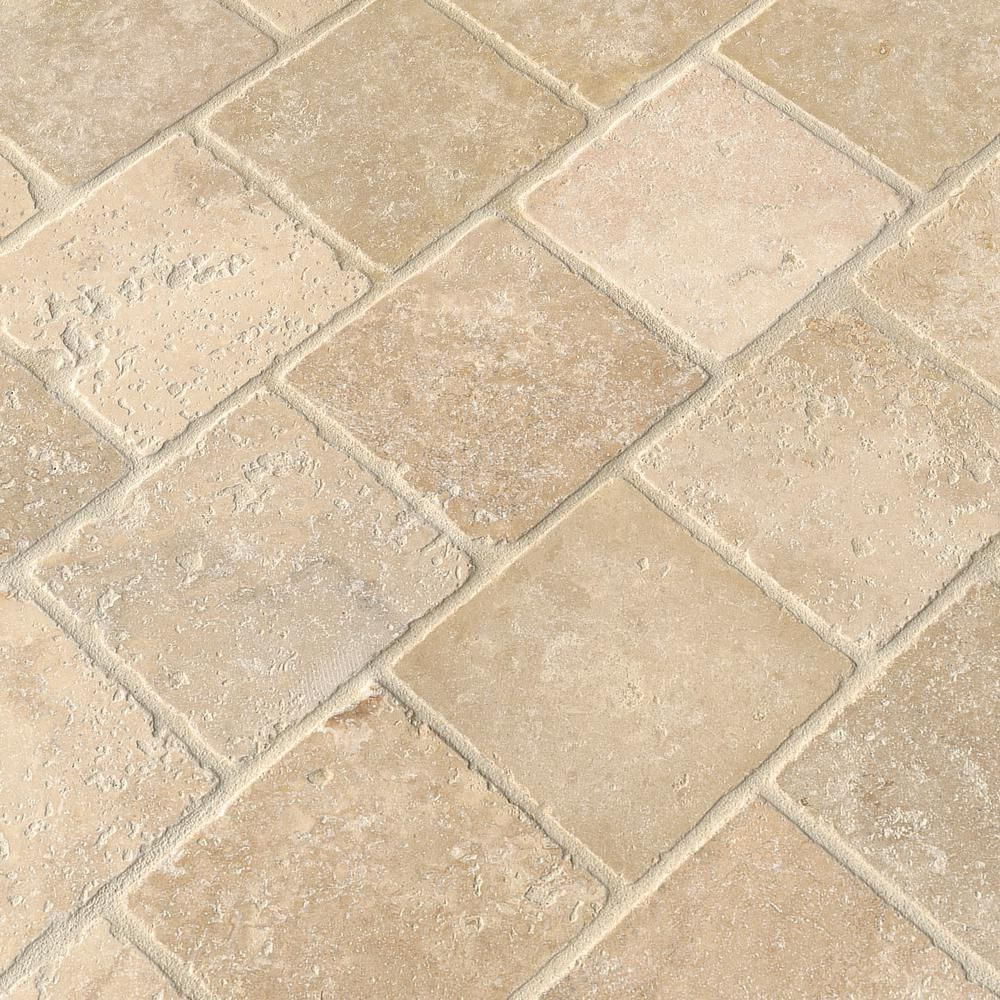 Msi Chiaro 4 In X 4 In Tumbled Travertine Floor And Wall Tile 1 Sq Ft Case Thdw3 T Ch4x4t Travertine Floors Wall Tiles Flooring
