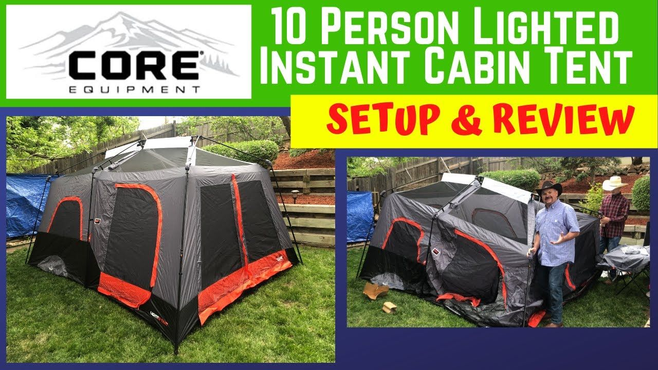 Core Equipment 10 Person Lighted Instant Cabin Tent Setup Review 1318981 Cabin Tent Tent Cabin