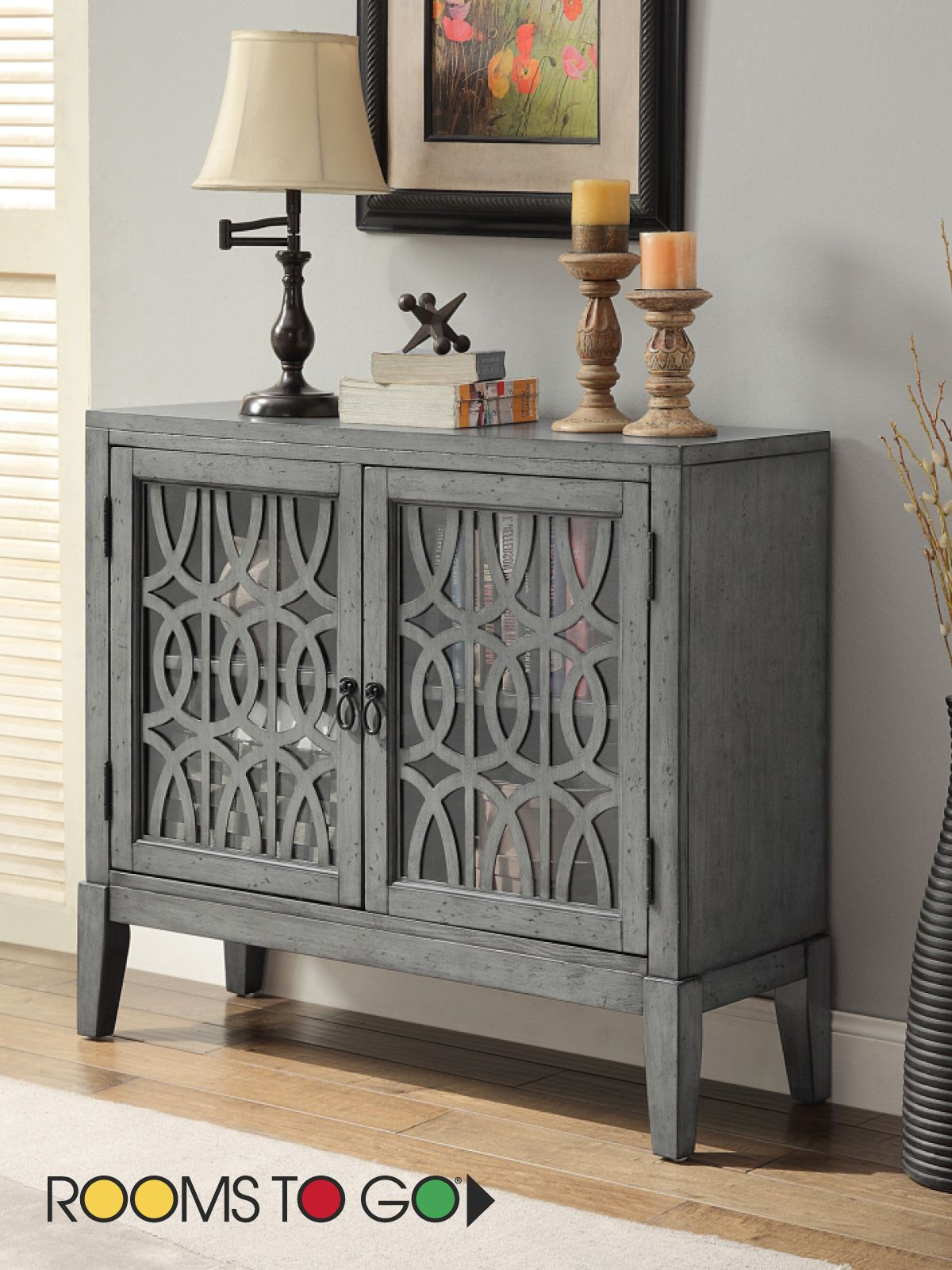 Simply Elegant, The Two Door Godric Pointe Accent Cabinet Has A Distressed  Soft Gray