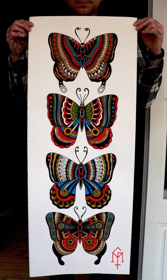 butterfly traditional tattoo old school tattoo