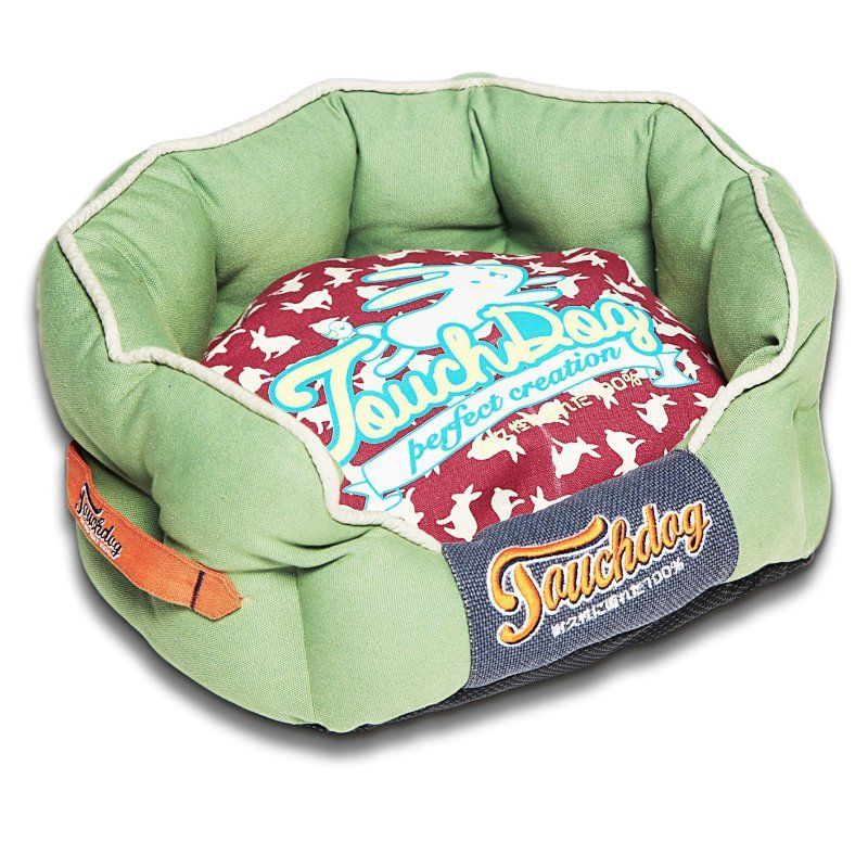 Pet Life Touchdog Rabbit-Spotted Premium Rounded Dog Bed Olive Green/Champaign Red - PB62RDGNLG