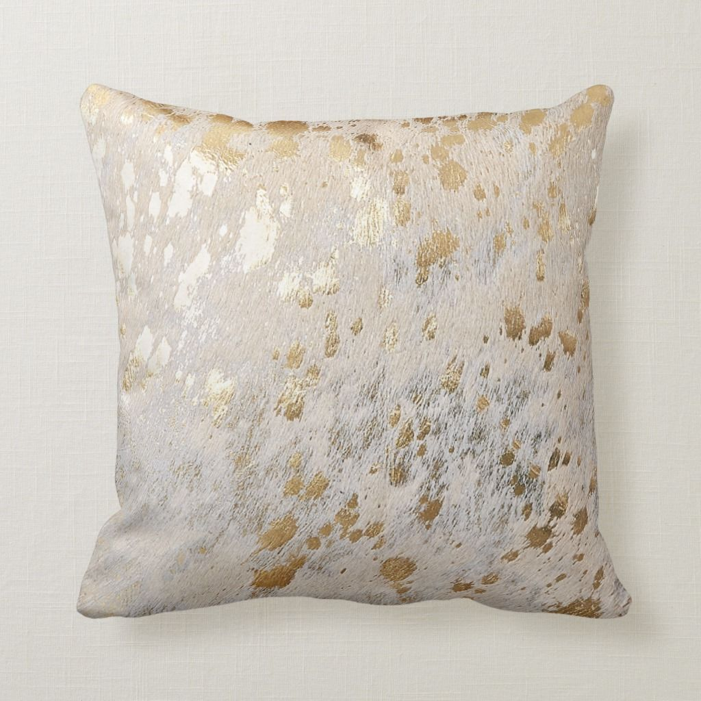 Gold Cowhide Print Metallic Scatter Throw Cushion Zazzle Com In