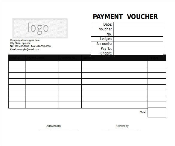 Microsoft Word Format Voucher Templates Free Download Free