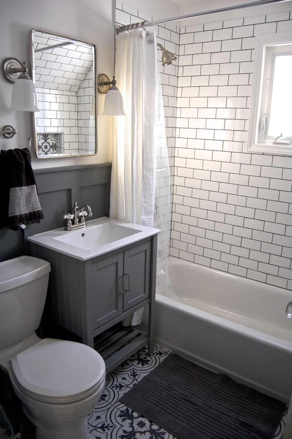 Small Grey And White Bathroom Renovation Update Subway Tile Vanity Recessed Cabinet