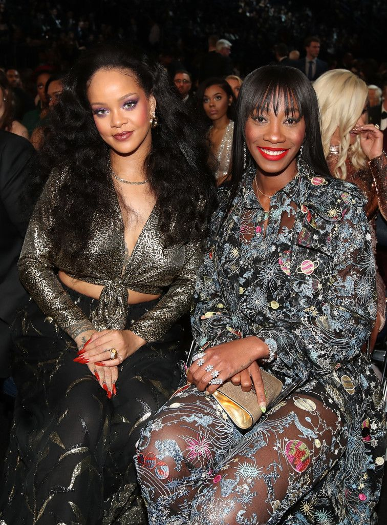 3371510730 Recording artist Rihanna and Melissa Forde attend the 60th Annual GRAMMY  Awards at Madison Square Garden on January 28