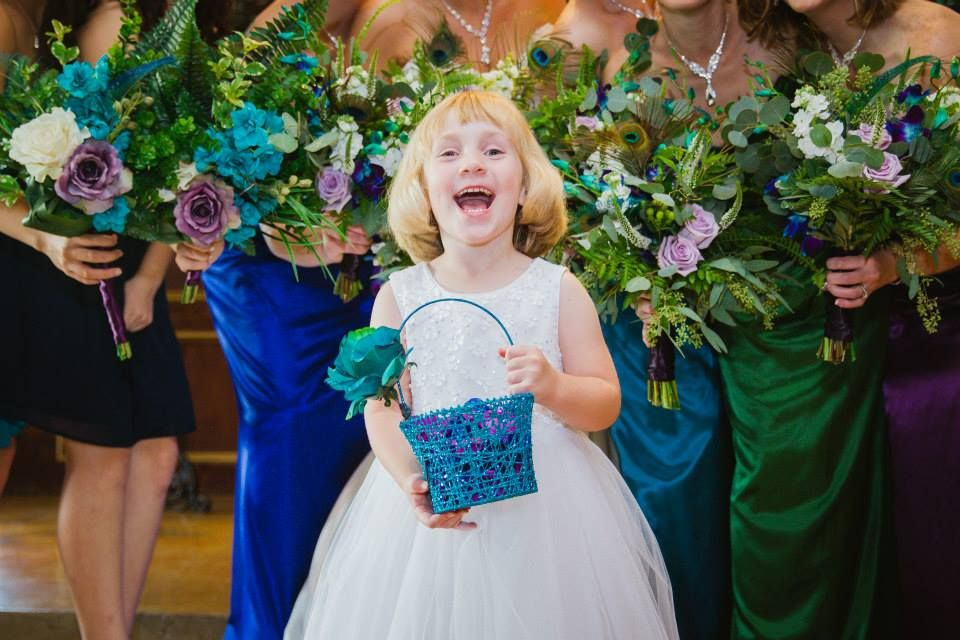 Flower Girl Peacock Themed Wedding Party Cascade Bridal Bouquet And Open Space Bridesmaid Bouquets