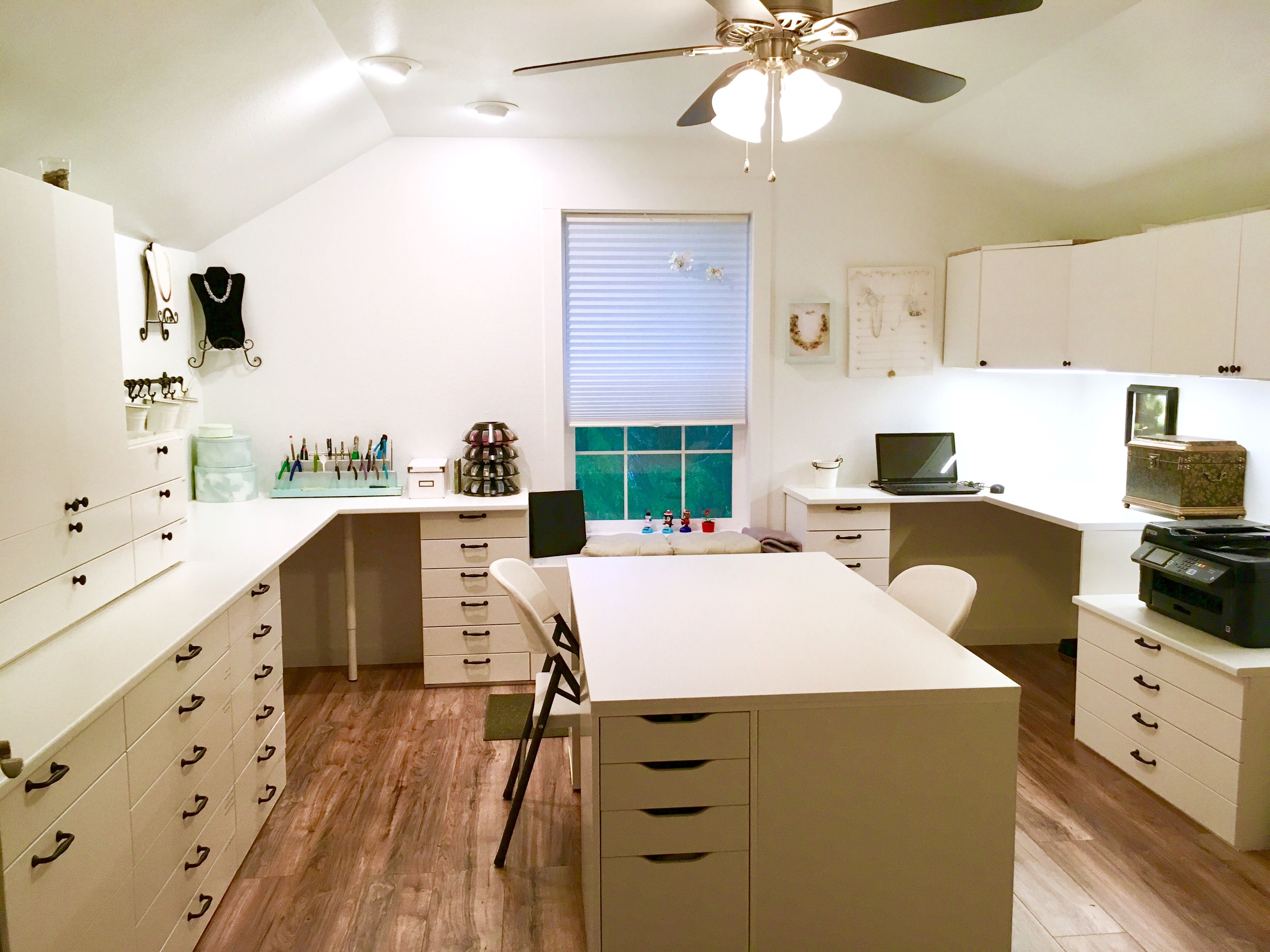 A perfect multihobby room. IKEA kitchen line the