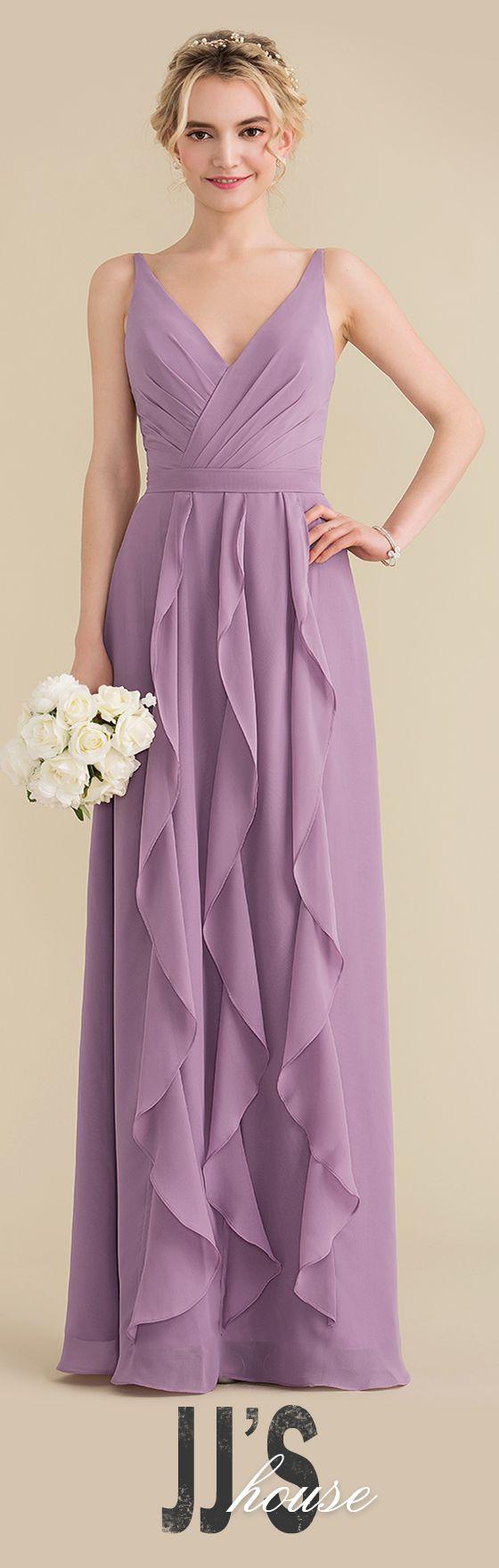 [US$ 122.00] A-Line V-neck Floor-Length Chiffon Bridesmaid ...