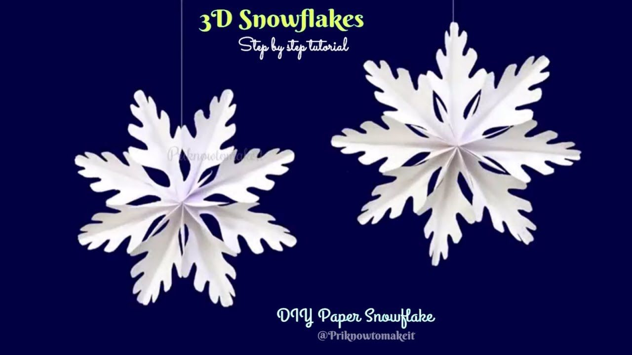 3d Snowflake Paper Snowflake How To Make 3d Paper Snowflakes For Chr 3d Paper Snowflakes Paper Christmas Decorations 3d Snowflakes