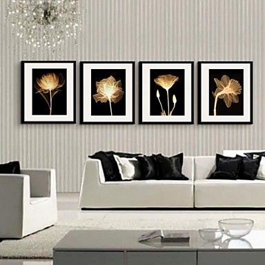 toile encadr e set de cadres a fleurs botanique art mural. Black Bedroom Furniture Sets. Home Design Ideas