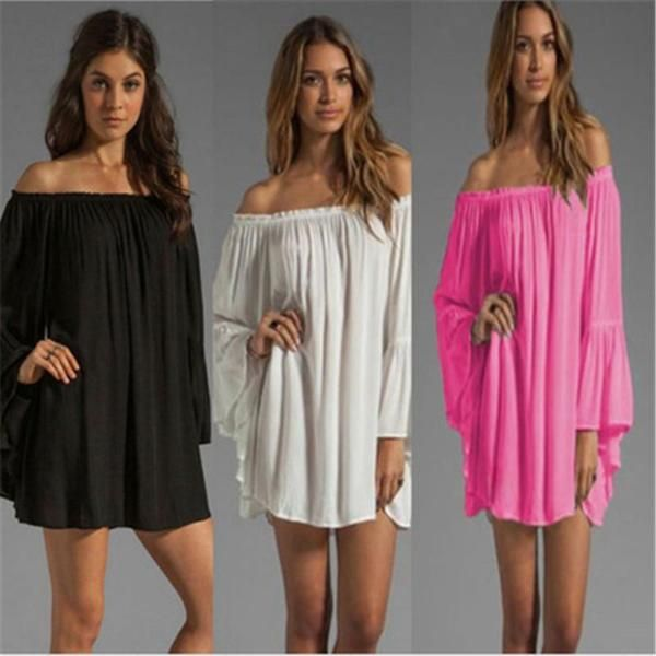 2016 Women Beautiful Homomian Solid Sexy Off Shoulder Maxi Dress Holiday Party Beach Wear Summer