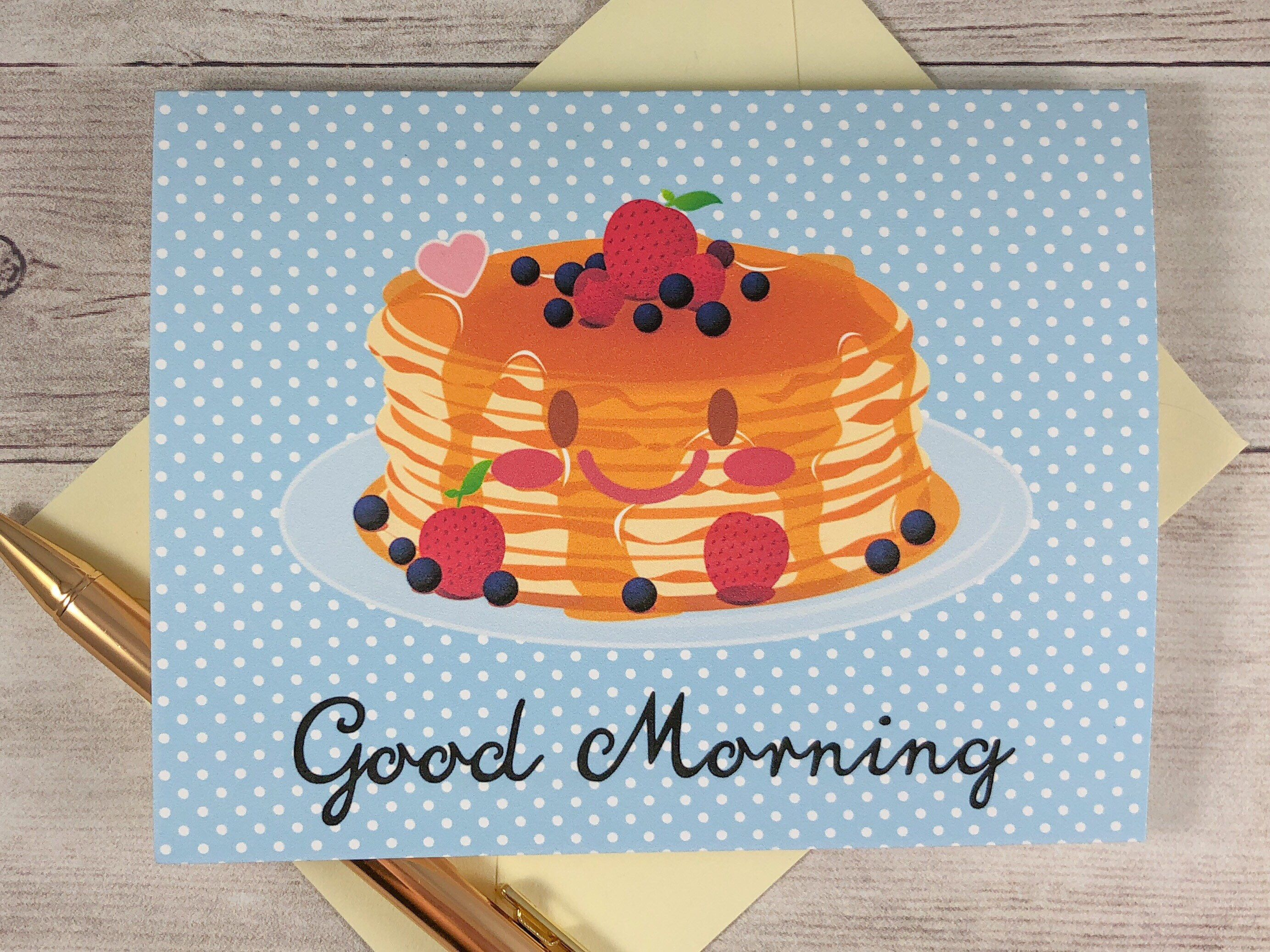 Folded Notecard Set  Good Morning Breakfast Pancakes Greeting Card