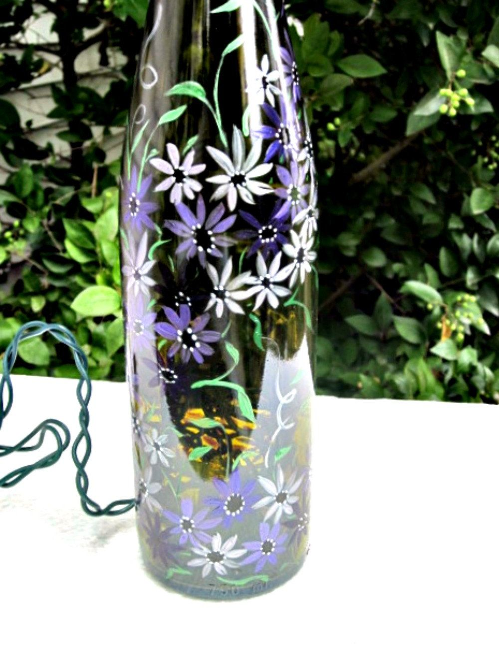 Painted Bottles With Lights Inside Recycled Wine Bottle