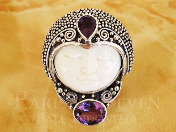 Moon Face Cow Bone Carving Amethyst Bali Sterling By Parisianseven 49 90 Bali Sterling Silver Horn Jewelry Amethyst