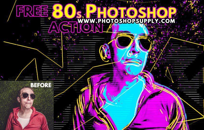 Free 80s Retro Poster Photoshop Action Photoshop Supply 80s Posters Retro Poster Poster Generator