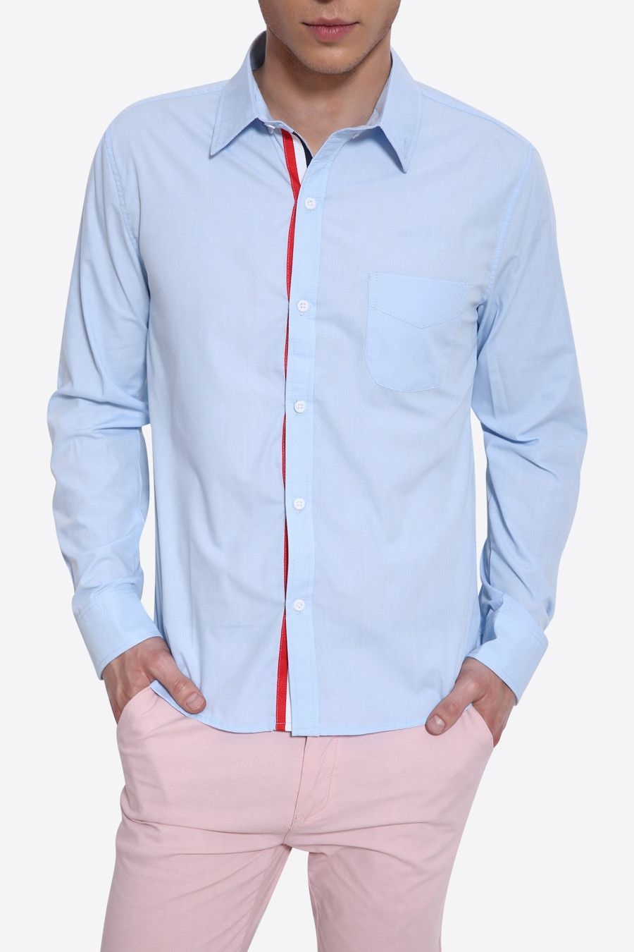 Slim Fit Tricolor Stripes Insert Long Sleeve Shirt In Light Blue