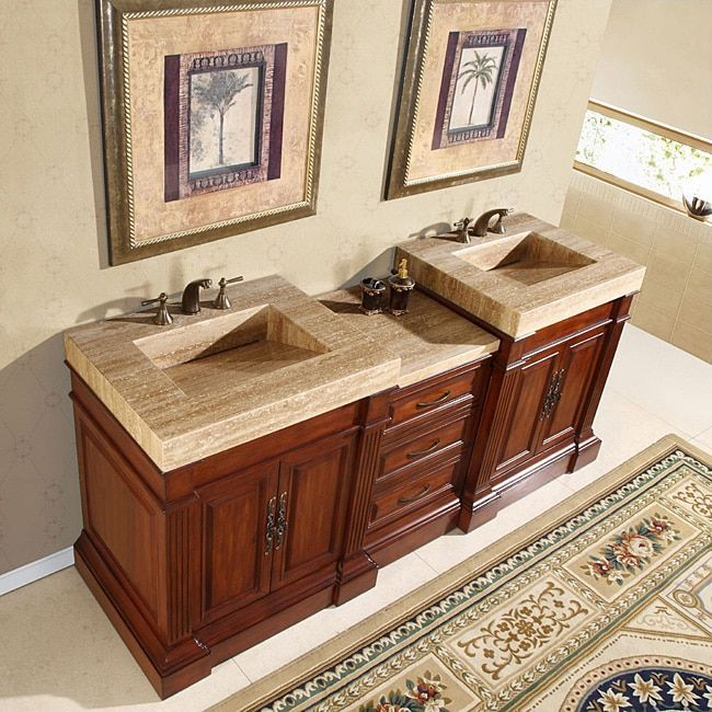 Silkroad Exclusive Travertine Top 83 Inch Double Sink Vanity Cabinet Grey Stone