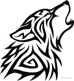 Tribal Wolf Howl Stickers By Hareguizer Redbubble Tribal Wolf Tattoo Tribal Wolf Small Wolf Tattoo