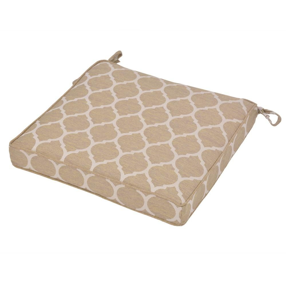Hampton Bay Toffee Trellis Square Outdoor Seat Cushion Outdoor
