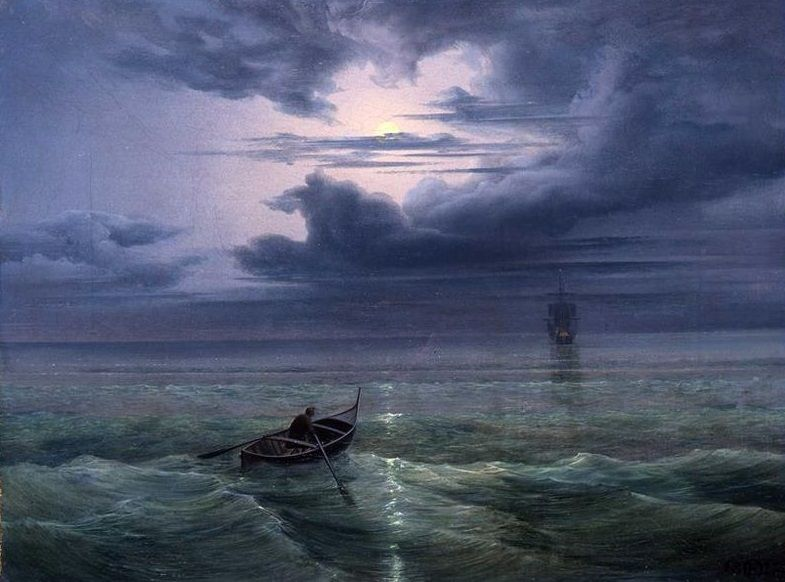 Moonlight on the Gulf of Salerno ,1827 by Ernst Ferdinand Oehme