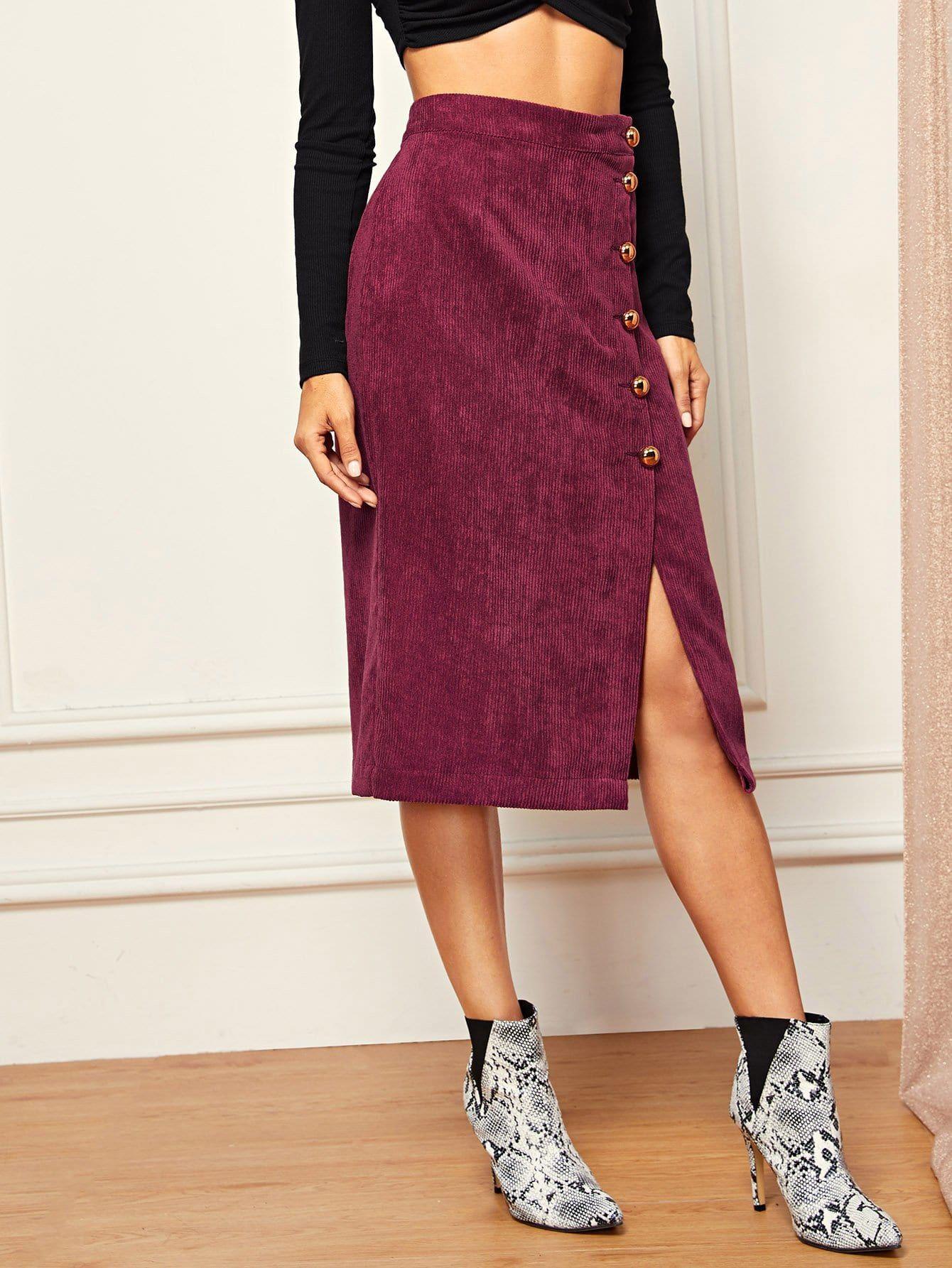 11560bbde250 Women Elegant Plain Mid Waist Burgundy Midi Length Gold Button Split  Corduroy Skirt