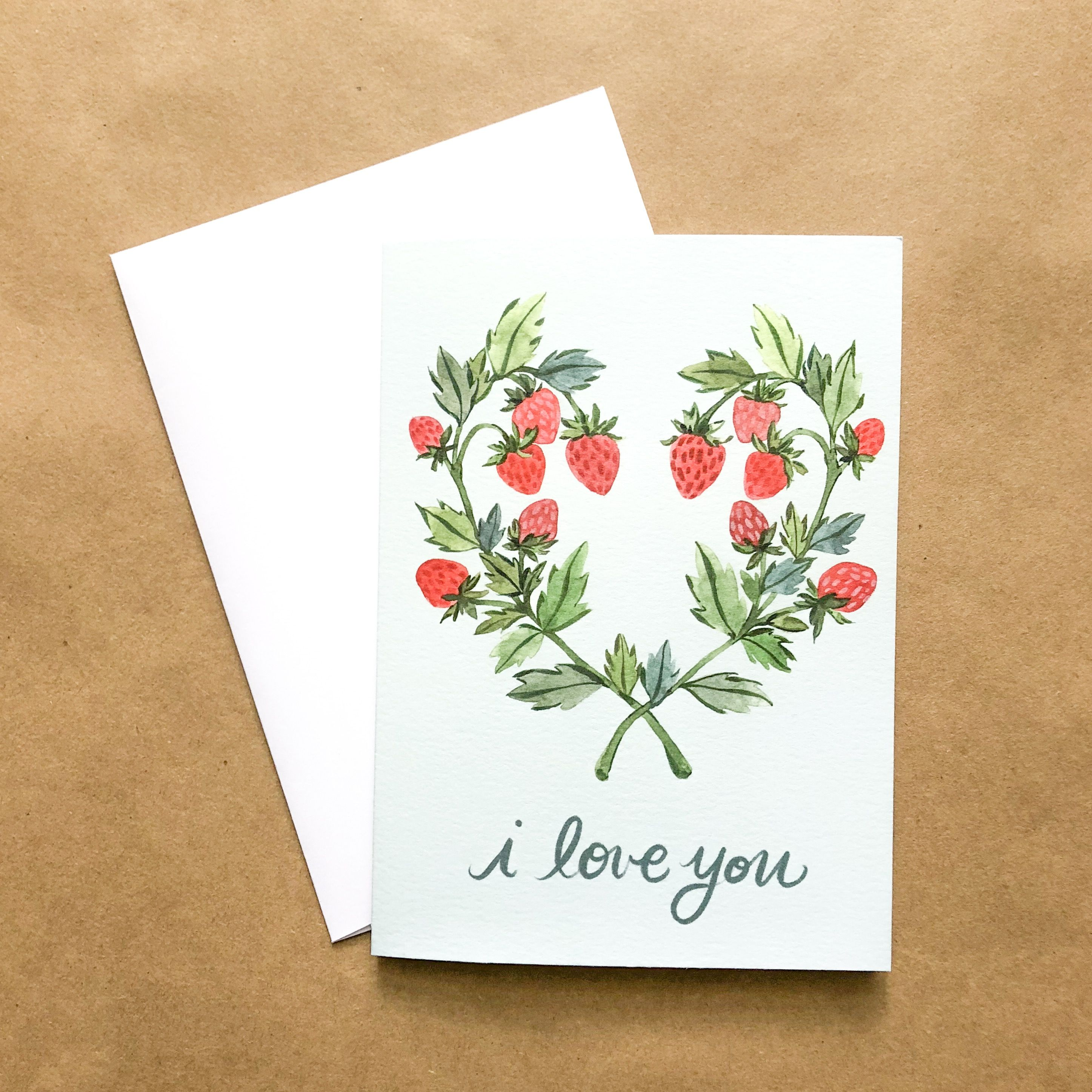 I Love You Berry Much Watercolor Valentineslove Greeting Card