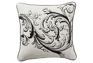 Scroll 18x18 Pillow, Black/White