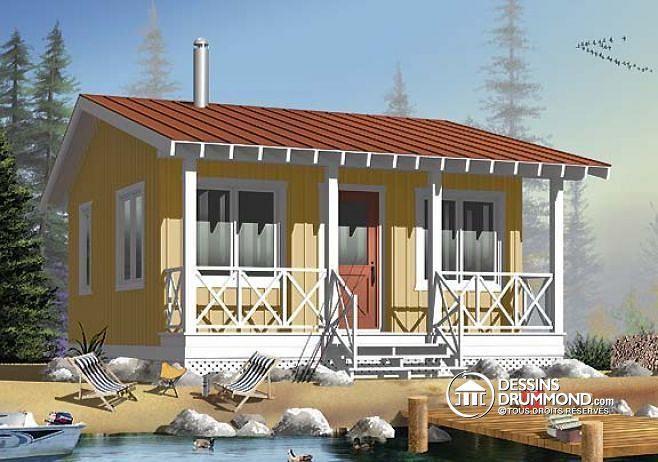 W1903 - Petit Chalet 3-saisons, économique, grand balcon couvert, à - plan de maison design