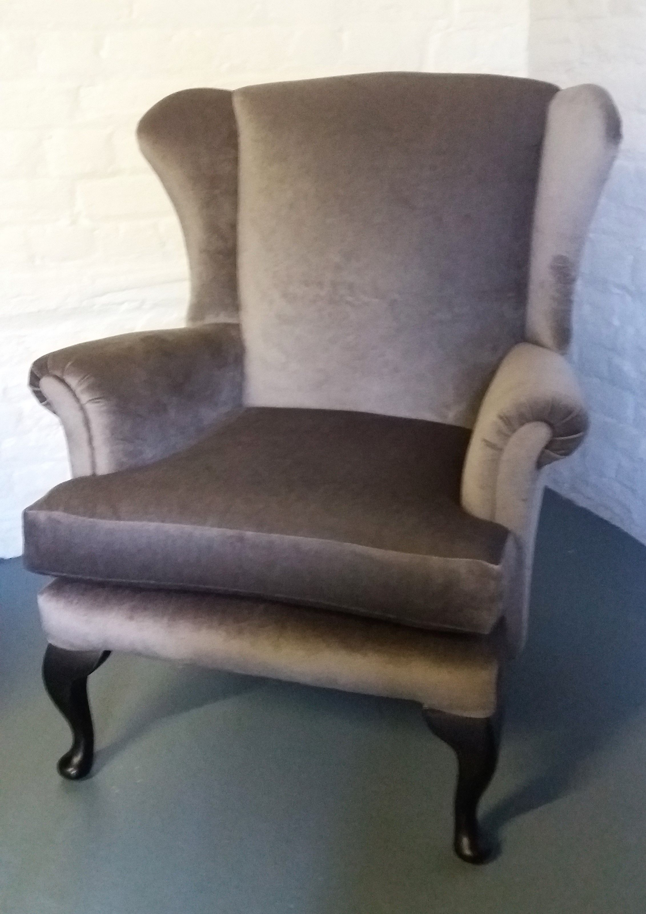 Beautiful queen anne style chair reupholstered in a soft