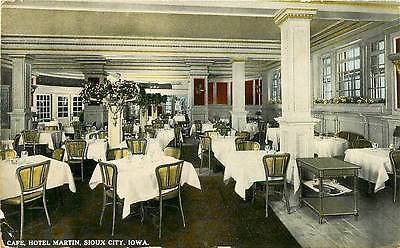 Sioux City Iowa Ia 1914 Cafe Inside Hotel Martin Antique Vintage Postcard With Images Sioux City Iowa Sioux City Hotel
