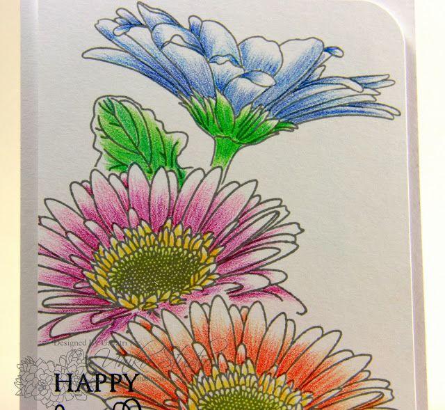 Uniko Studio Blog Hop Watercolor Pencils Techniques Flower