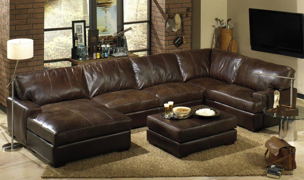Living Room:Distressed Brown Leather Sectional With Letter U Shaped Sofa  Also Living Room Furniture