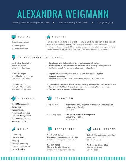 Blue Icons Corporate Resume | my stuff | Pinterest