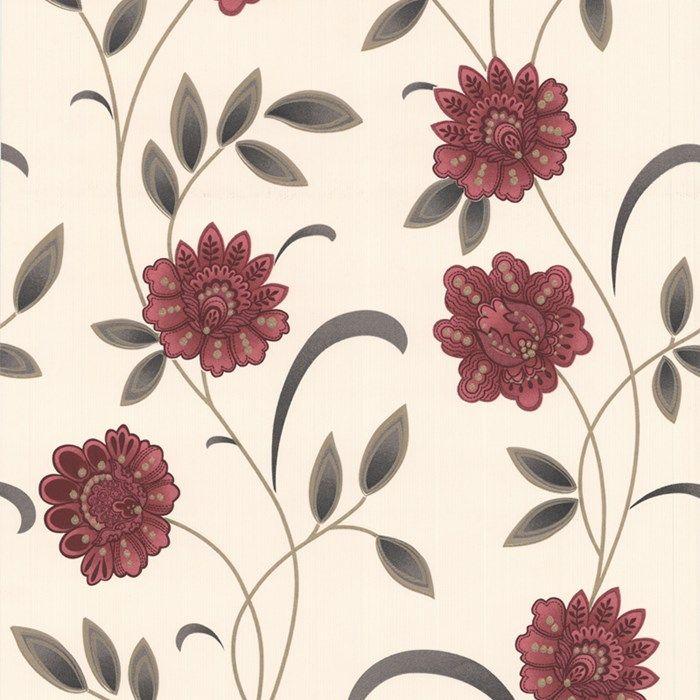 Sadie Graham And Brown Floral Wallpaper Red Wallpaper Wallpaper
