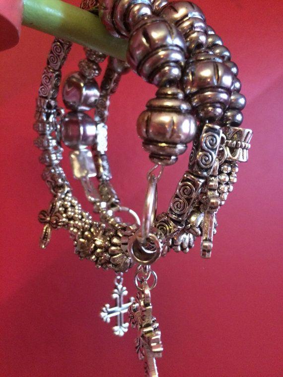 BoHo silver cross wrap bracelet silver cross wrap by Bedotted