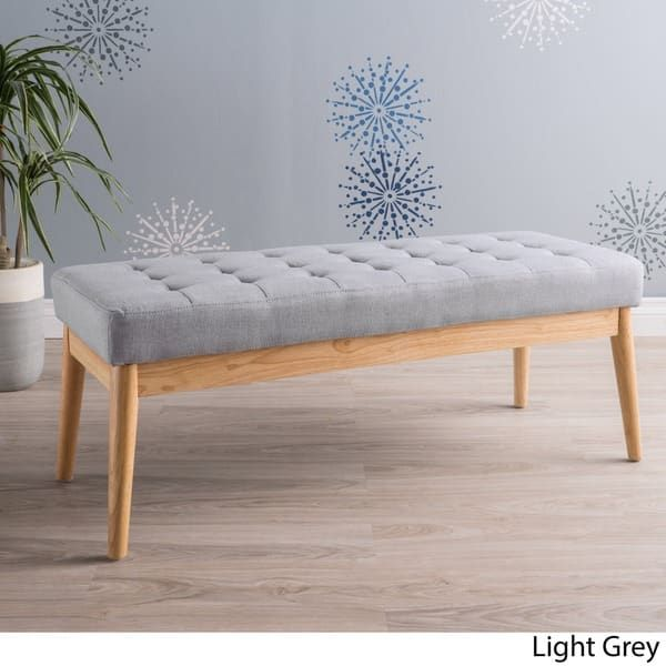 saxon mid century tufted fabric ottoman bench by christopher knight