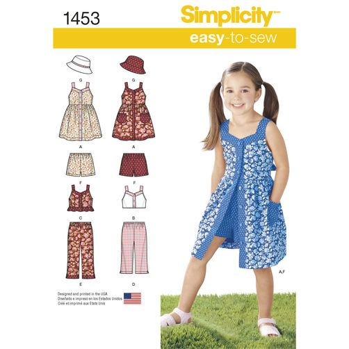 Simplicity Child/'s And Girls/' Dress Top Pants And Camisole-3-4-5-6